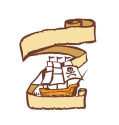 Pirate ship sailing scroll retro vector