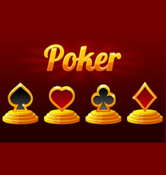 Playing card symbols and poker suit of playing vector