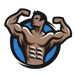 Posing bodybuilder symbol logo emblem vector