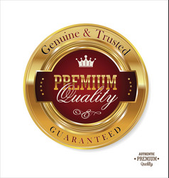 Premium quality red and gold button 2 vector