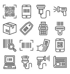qr code and barcode icons set vector image
