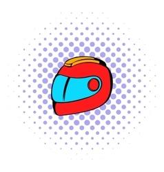 Racing helmet icon comics style vector