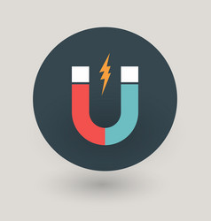 red and blue magnet icon with lighting vector image