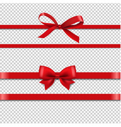 red silk ribbons set isolated transparent vector image