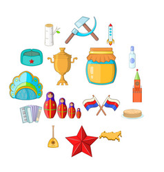 russia icons set cartoon style vector image