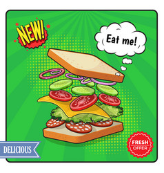 Sandwich advertising poster in comic style vector