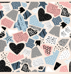 seamless abstract pattern with ink drawn shapes vector image