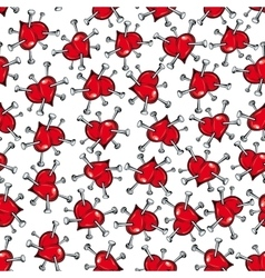seamless pattern scattered red hearts vector image