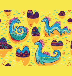 Seamless pattern with cute loch ness vector