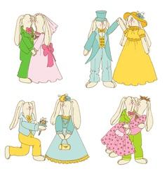Set of Bunny Dolls - in Love Wedding vector