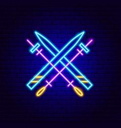 Skiing neon sign vector