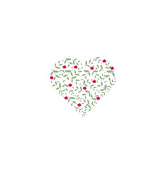 small heart filled with leaves green and pink vector image