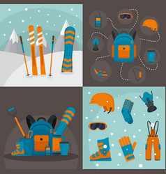 snowboarding kit banner concept set flat style vector image