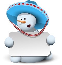 Snowman in a sombrero with white background vector