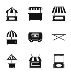 street stall icon set simple style vector image