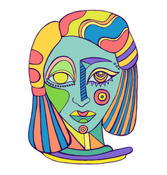surreal abstract girl face colorful human vector image