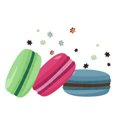 Three colorful macarons flying dessert vector