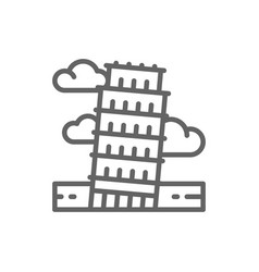 tower pisa italy landmark line icon vector image