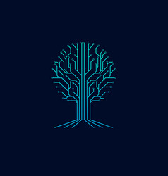 tree technology symbol logo vector image