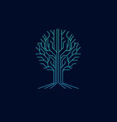 Tree technology symbol logo vector
