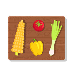 vegetables on wooden board vector image