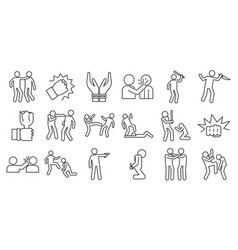 Violence abuse icons set outline style vector