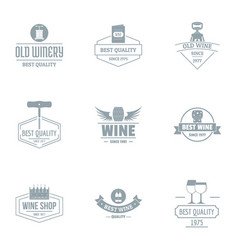 Viticulture logo set simple style vector
