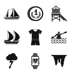 Water instructor icons set simple style vector
