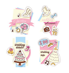 wedding stickers set cards vector image