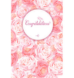 Greeting card with the pink roses background vector
