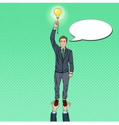 Pop Art Businessman with Lightbulb Team Work vector image vector image