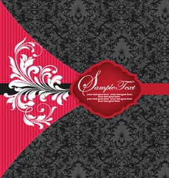 red and black damask invitation card vector image
