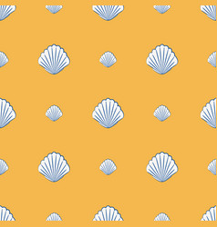 seamless pattern with scallop shells marine vector image vector image