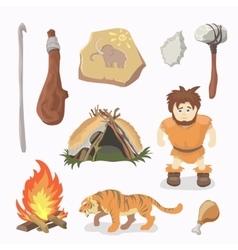 Stone Age icons Primitive man Cavemen vector image