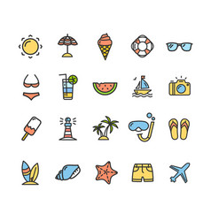 summer icon color thin line set vector image