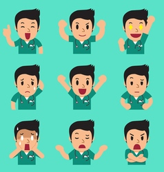 Cartoon male nurse faces showing different vector image vector image