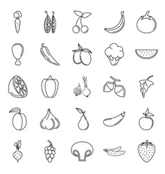 food icon set vegetables and meat on white vector image vector image