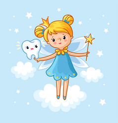 lovely fairy with a tooth and a magic wand vector image
