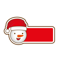 sticker banner with cartoon snowman christmas vector image vector image