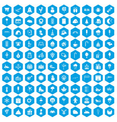 100 childrens parties icons set blue vector image