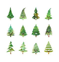 christmas tree icons set vector image vector image