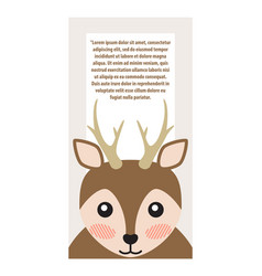 deer with horns animal cover vector image