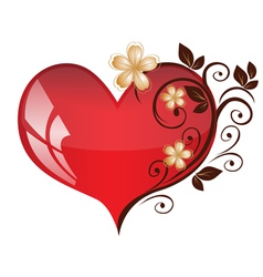 heart floral pattern vector image