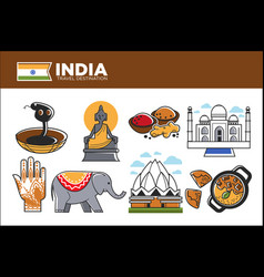 india travel destination promotional poster with vector image vector image