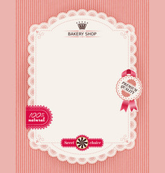 poster of confectionery bakery with lacy frame vector image vector image