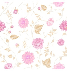 Seamless texture of pink roses for textiles vector image