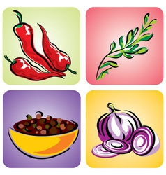 set color spices vector image