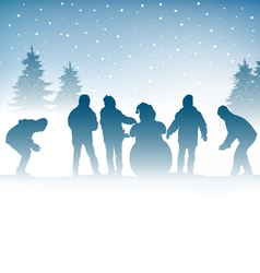 Winter and children vector image vector image