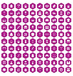 100 needlework icons hexagon violet vector