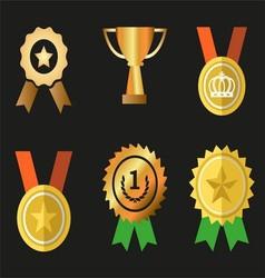 Awards icons symbol set vector image vector image